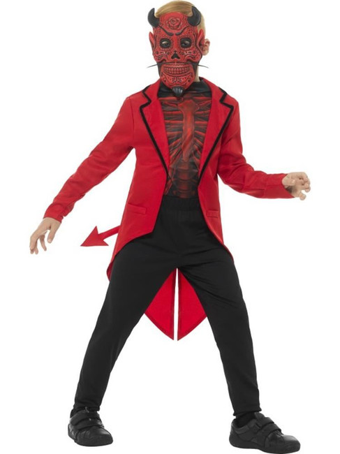 Deluxe Day of the Dead Devil Boy Costume,Halloween Fancy Dress, Age 10-12