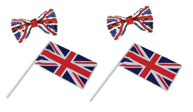Union Jack Supporter Set, 2 Sequin Bow Ties, 2 Handwaving Flags