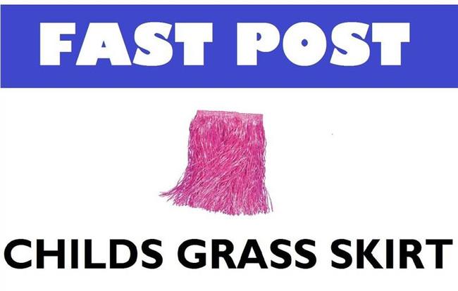 CHILDS PINK GRASS SKIRT, HAWAIIAN FANCY DRESS ACCESSORY, LUAU