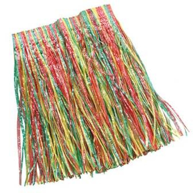 GRASS SKIRT., MULTI COLOURED CHILD SIZE, FANCY DRESS ACCESSORY