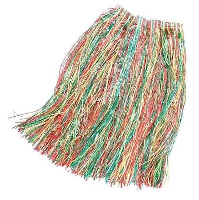 Long Length Grass Skirt 80cm Multi Coloured, XL HAWAIIAN/HULA FANCY DRESS
