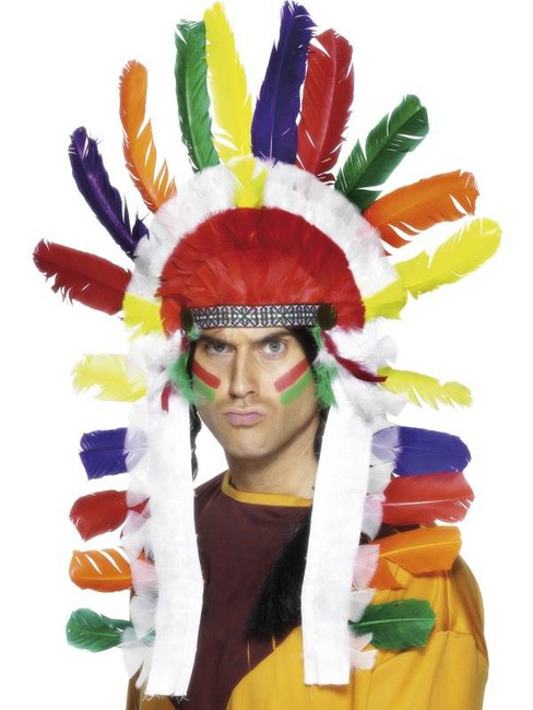 Long Indian Chief Headdress.  One Size