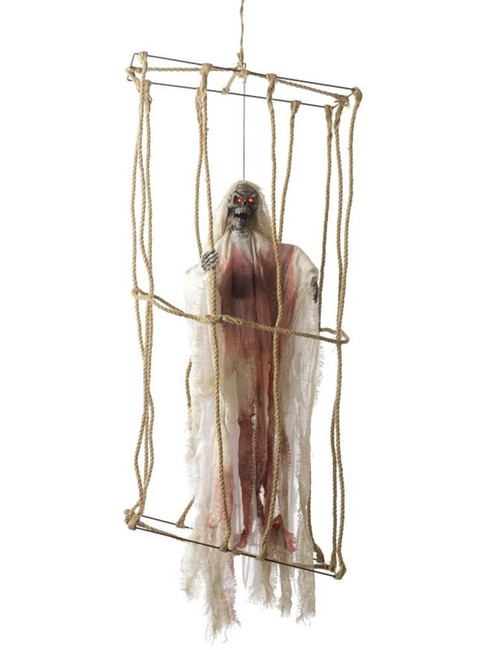 Animated Hanging Caged Skeleton Decoration,Halloween Fancy Dress Accessories