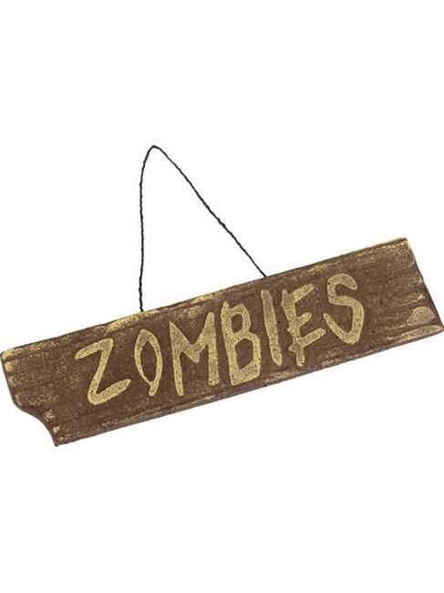 Brown Hanging Zombies Sign, Halloween Fancy Dress Accessories