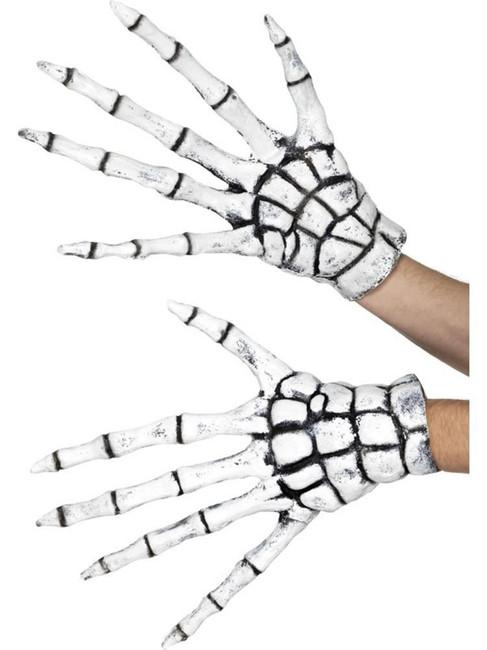 White Grim Reaper/Skeleton Gloves, Halloween Fancy Dress Accessories