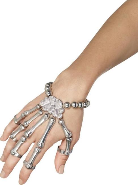 Skeleton Hand Bracelet, Halloween Fancy Dress, SILVER
