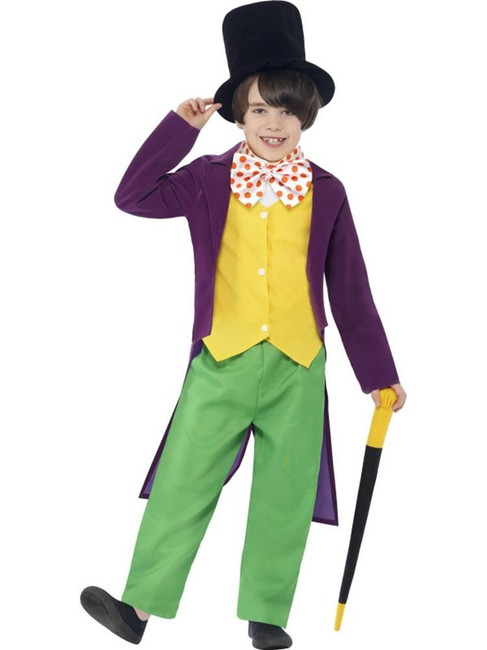 Roald Dahl Willy Wonka Costume,Roald Dahl Licensed Fancy Dress,Small Age 4-6