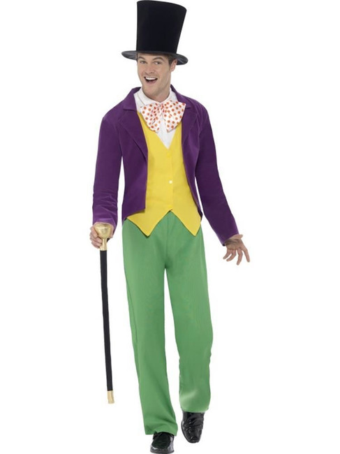 Roald Dahl Willy Wonka Costume, Medium, Adult Fancy Dress Costumes, Mens