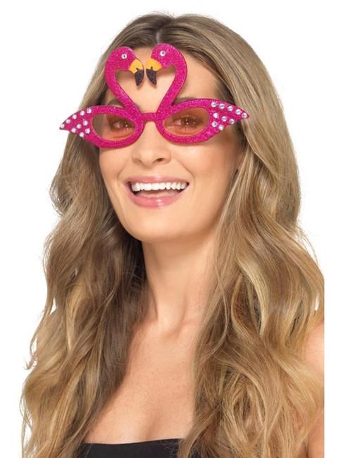 Flamingo Sparkle Glasses, Hawaiian Luau Fancy Dress