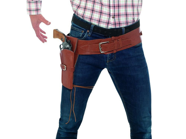 Adult Faux Leather Single Holster with Belt, Brown, Cowboys and Indians Fancy Dress