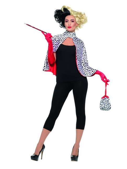 Deluxe Evil Madame Cruella Deville Kit, Cape,Gloves,Bag,Cig,Fancy Dress