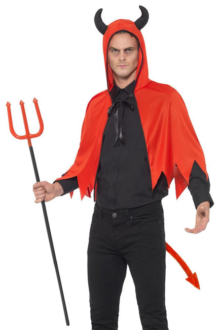 Devil Kit, Horns/Cape/Trident/Tail, Halloween Fancy Dress Accessories