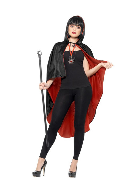 Vampire/Dracula Kit,Reversible Cape/Cane/Medallion, Halloween Fancy Dress