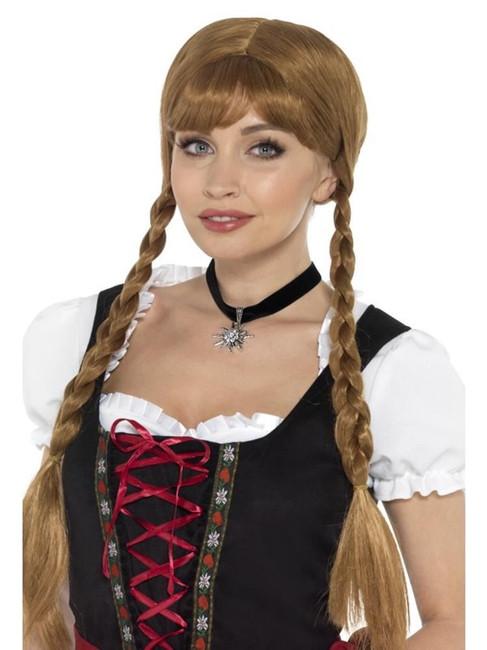 Bavarian Fraulein Choker Black with Edelweiss Flower,Oktoberfest Fancy Dress