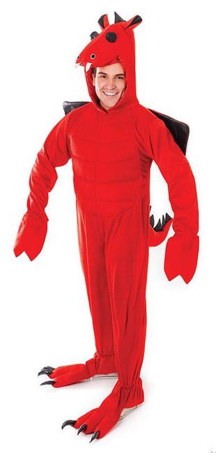 ADULT RED DRAGON COSTUME, UNISEX FANCY DRESS, HALLOWEEN