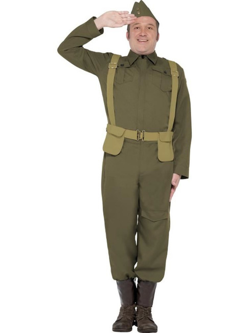 WW2 Home Guard Private Costume,1940's Wartime Fancy Dress, Large