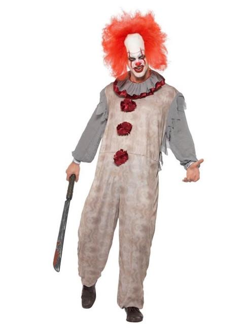Vintage Clown Costume, Halloween Cirque Sinister Fancy Dress, XL