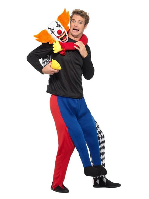 Piggyback Kidnap Clown Costume,Halloween Cirque Sinister Fancy Dress
