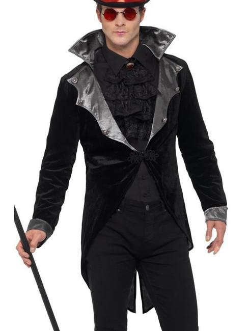 Gothic Vampire Jacket, Halloween Adult Fancy Dress, XL