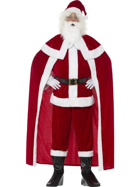 Deluxe Santa Claus Costume with Trousers,Christmas Adult Fancy Dress,Large