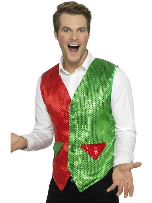 Sequin Elf Waistcoat, Christmas Adult Fancy Dress, XL