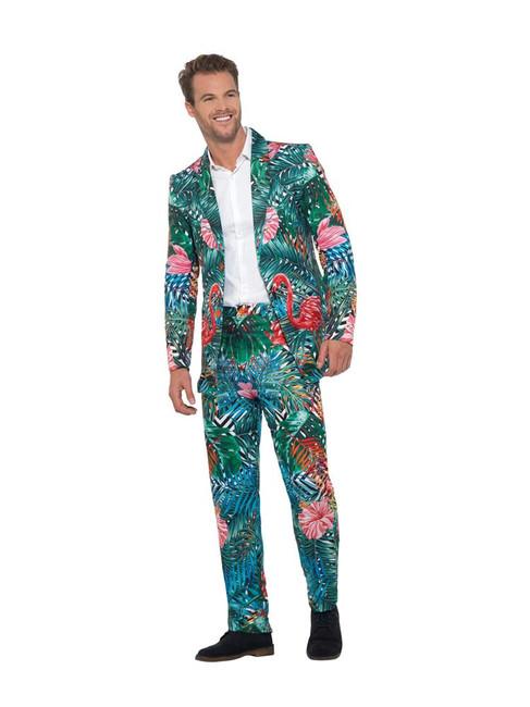 Hawaiian Tropical Flamingo Suit,Hawaiian Luau Fancy Dress, Large