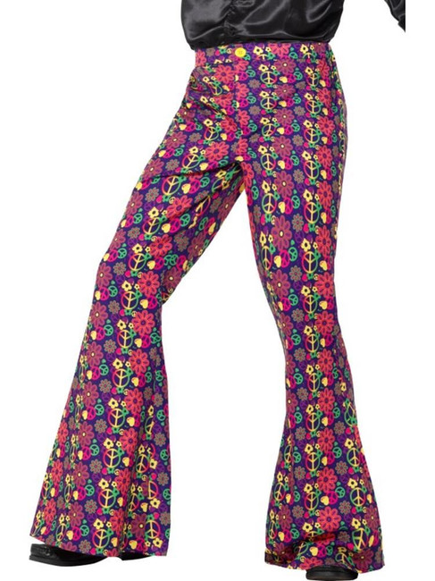 60s Psychedelic CND Flared Trousers,Mens,1960's Groovy Fancy Dress, XL