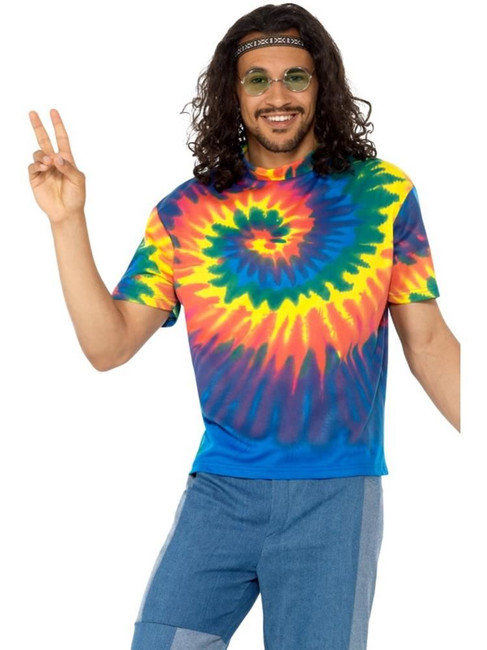 1960s Tie Dye T-Shirt, 1960's Groovy Fancy Dress, XL