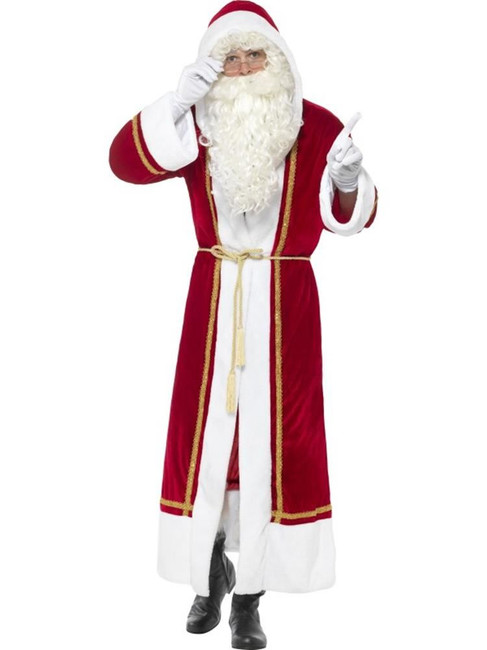 Deluxe Santa Cloak, Christmas Adult Fancy Dress, up to 44""