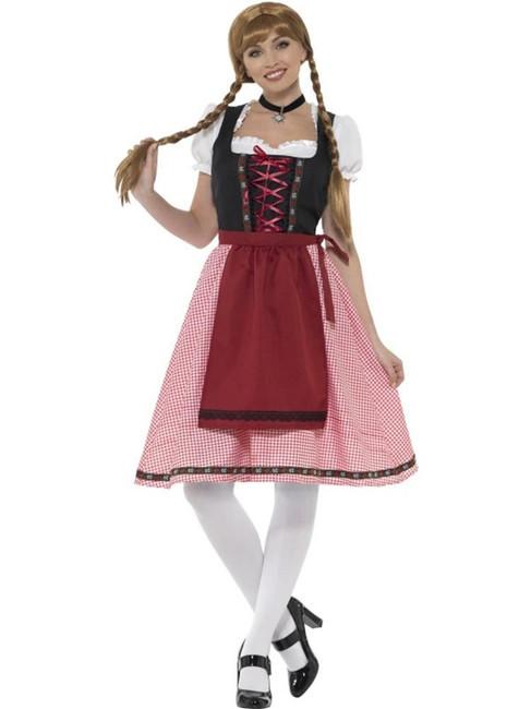 Bavarian Tavern Maid Costume, Oktoberfest Festival Fancy Dress, UK Size 8-10