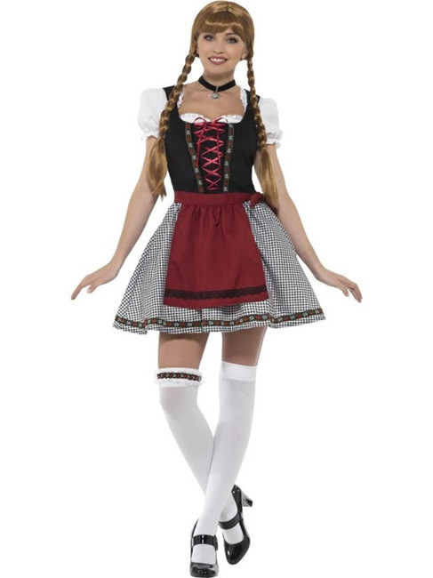 Flirty Fraulein Bavarian Costume, Oktoberfest Festival Fancy Dress, UK 12-14
