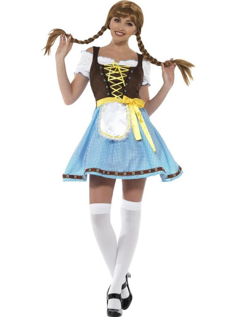 Olga Bavarian Costume, Oktoberfest Beer Festival Fancy Dress, UK Size 8-10