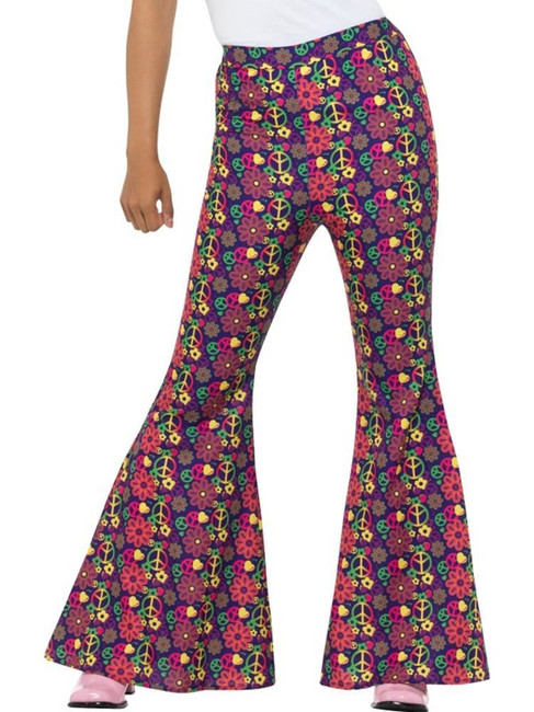 60s Psychedelic CND Flared Trousers,Ladies,1960's Groovy Fancy Dress,UK 8-10