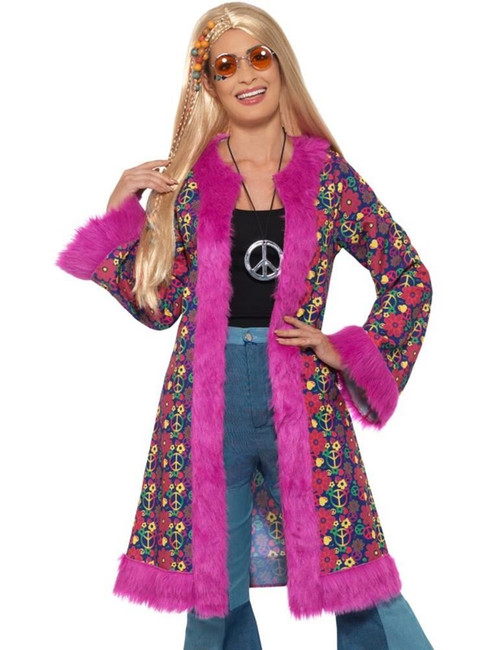60s Psychedelic Hippie Coat, 1960's Groovy Fancy Dress, UK Size 16-22
