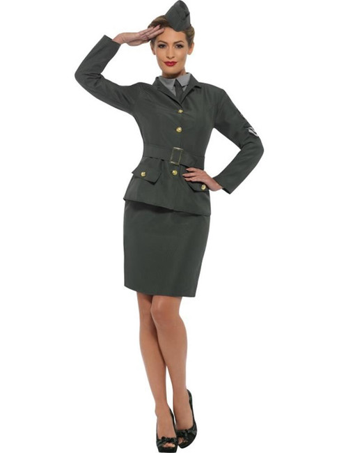WW2 Army Girl Costume, 1940's Wartime Fancy Dress, UK Size 12-14