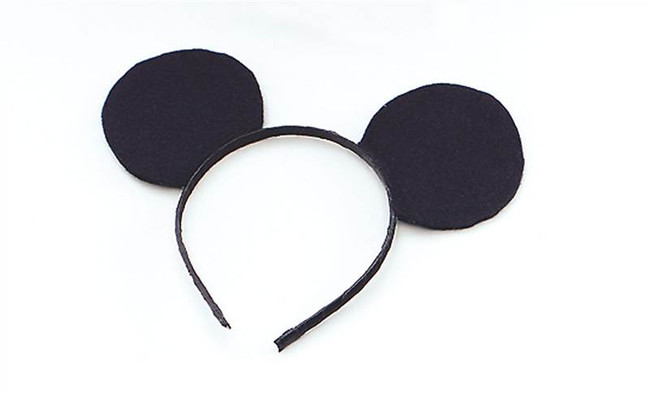 Ears Mouse Black Felt On Headband.