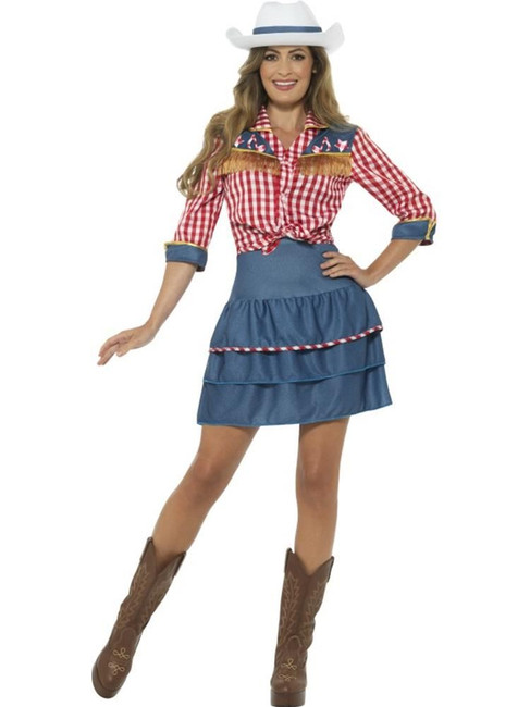 Rodeo Doll Costume, Cowboys and Indians Fancy Dress. UK Size 8-10