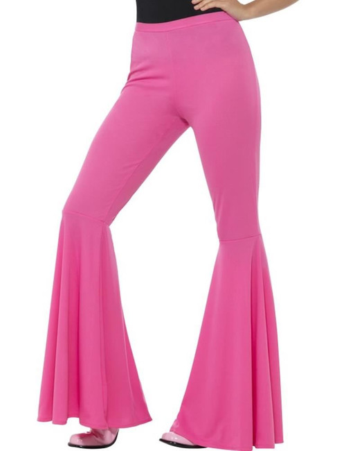 Flared Trousers, Ladies, Pink, 1960's Groovy Fancy Dress. UK Size 8-14