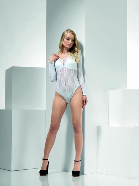 Lace Bodysuit, White, Fever Body Stockings & Clubwear, UK Size 6-14