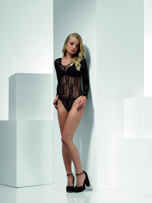 Lace Bodysuit, Black, Leotard, Fever Body Stockings & Clubwear, UK Size 6-14