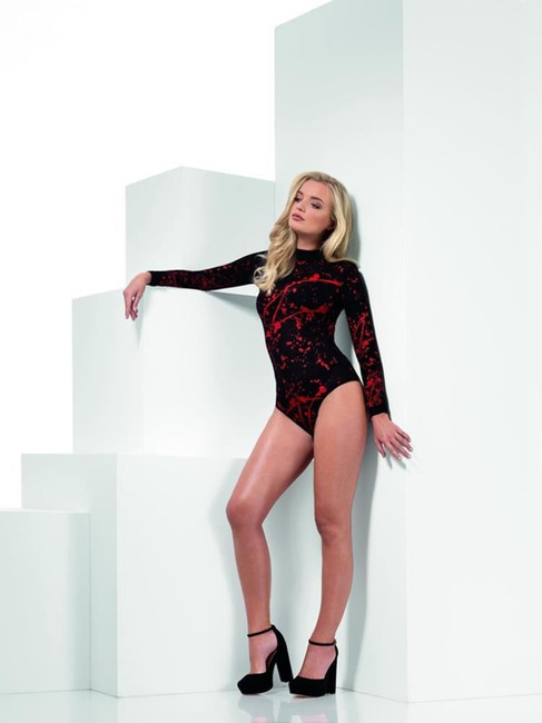 Opaque Bloody Bodysuit, Black Leotard, Fever Body Stockings & Clubwear, UK Size 6-14
