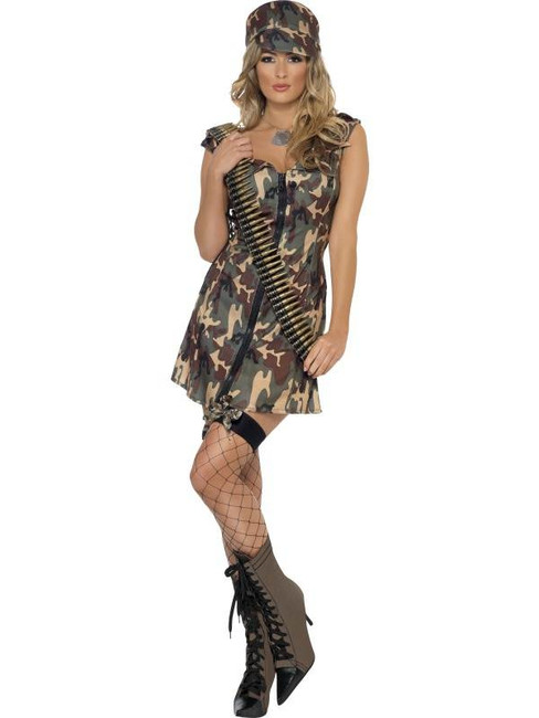 Fever Army Girl Costume, UK Dress 12-14