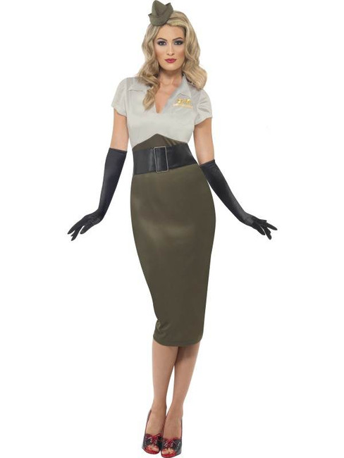 WW2 Army Pin Up Spice Darling Costume, UK Dress 8-10
