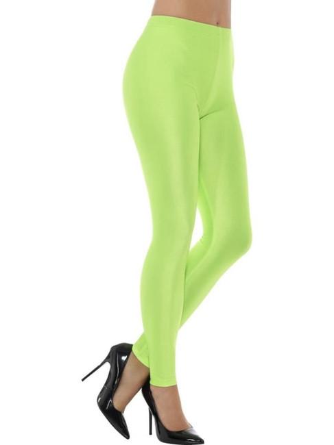 Neon Green 80's Disco Spandex Leggings, 1980's Fancy Dress. UK Size 12-14