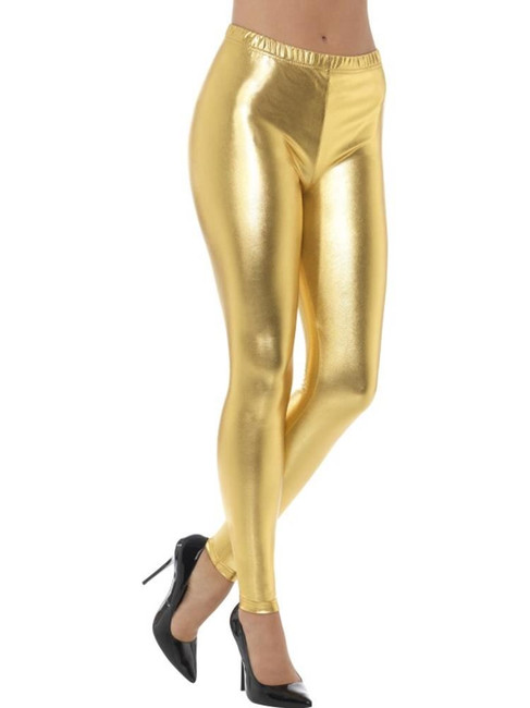 Gold 80's Metallic Disco Leggings, 1980's Fancy Dress. UK Size 8-10