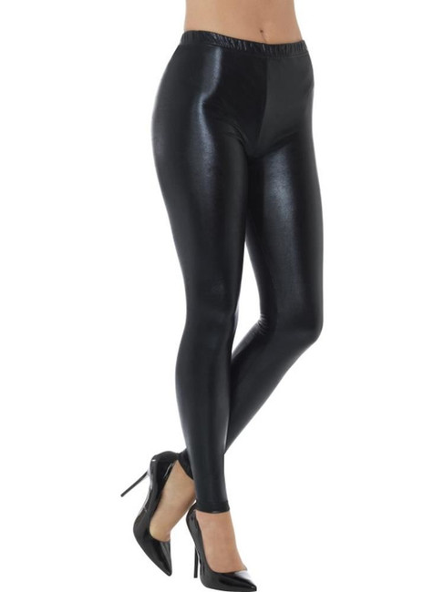 80's Metallic Disco Leggings, Black, Grease, 1980's Fancy Dress. UK Size 16-18