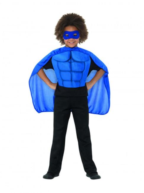 Kids Superhero Kit Blue, Eyemask EVA & Cape,Boys Fancy Dress Age 4-7