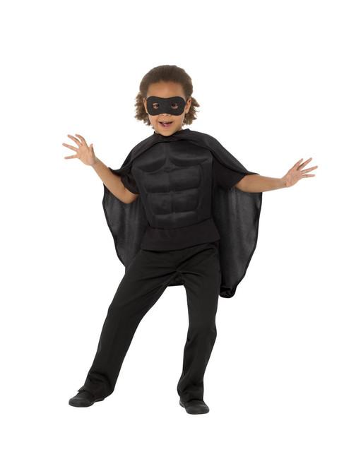 Kids Superhero Kit Black, Eyemask EVA & Cape,Boys Fancy Dress Age 8-12