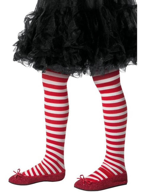 Striped Tights Childs Red & White,Children's Tights Age 8-12