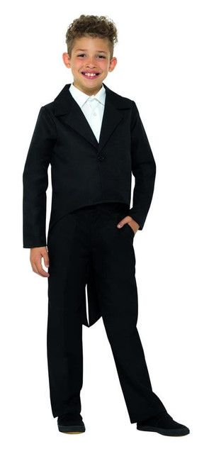 Black Tailcoat, Dance/Ringmaster/Showman, Fancy Dress, Large Age 10-12